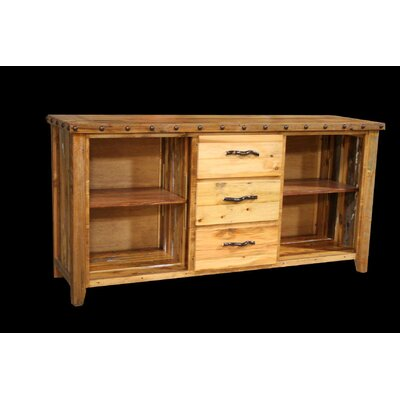 Utah Mountain Barnwood 3 Drawer Console Table with Side Cubbies
