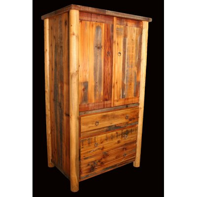 Utah Mountain Barnwood 3 Drawer Armoire with Rou..