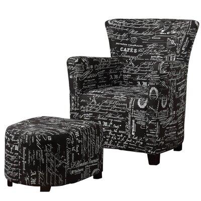WorldWide HomeFurnishings Fabric Club Chair/Ottoman Set
