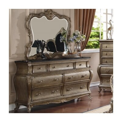 Meridian Furniture USA Roma 7 Drawer Dresser with Mirror