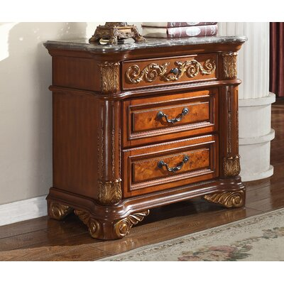 Meridian Furniture USA Royal 3 Drawer Nightstand