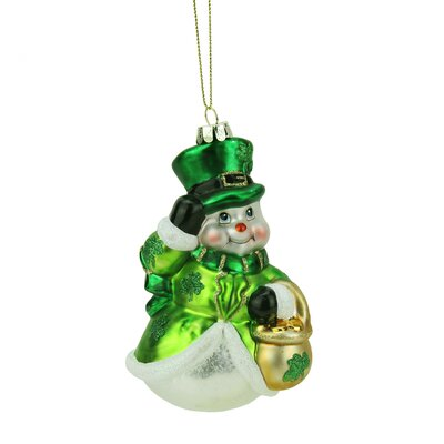 Luck of the Irish Glittered Snowman Glass Christmas Ornament