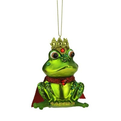 Glittered King Frog Glass Christmas Ornament