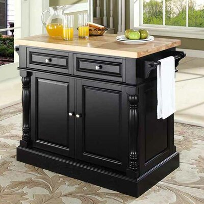 Darby Home Co Lewistown Kitchen Island with Butcher Block Top