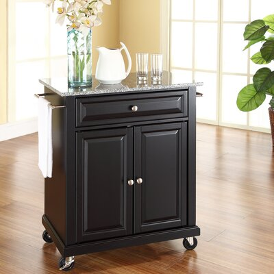 Darby Home Co Detweiler Solid Granite Top Portable Kitchen Cart/Island