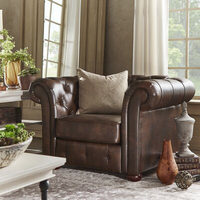 Darby Home Co Berlin Oliver Tufted Button Rolled Arm Chair