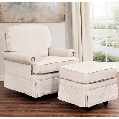 Darby Home Co Duston Swivel Glider Recliner and Ottoman