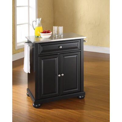 Darby Home Co Pottstown Kitchen Cart with Stainless Steel Top