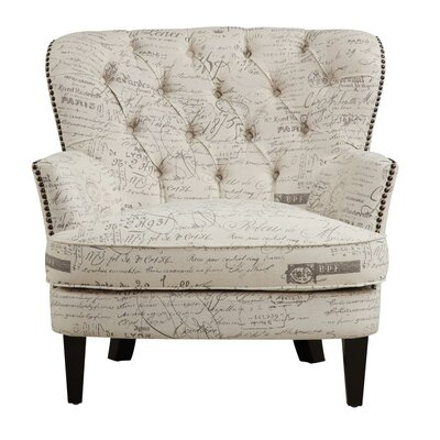 Lark Manor Timothee Script Upholstered Arm Chair