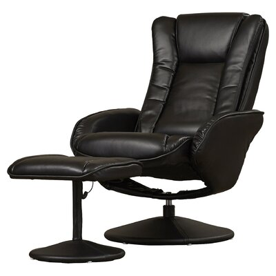 Alcott Hill Leather Heated Massage Recliner with Ottoman