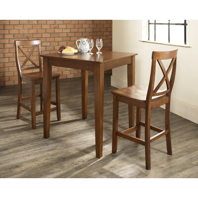 Charlton Home Baggley 3 Piece Pub Table Set with Tapered Leg Table and X-Back Barstools