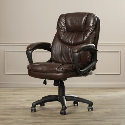 Charlton Home Musgrove High-Back Faux Leather Managers Chair with Padded Arms