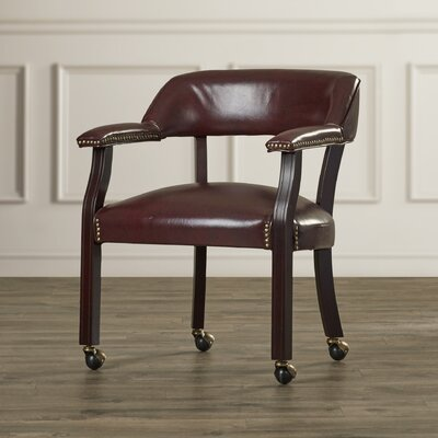 Charlton Home Low Back Traditional Guest Chair with Wrap Around Back and Casters