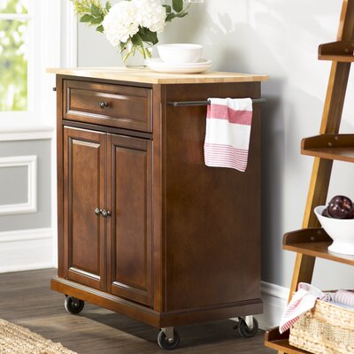 Charlton Home Bexton Kitchen Cart with Natural W..