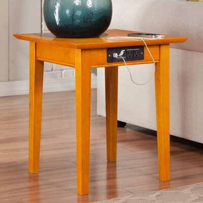 Charlton Home Oliver End Table with Charging Station