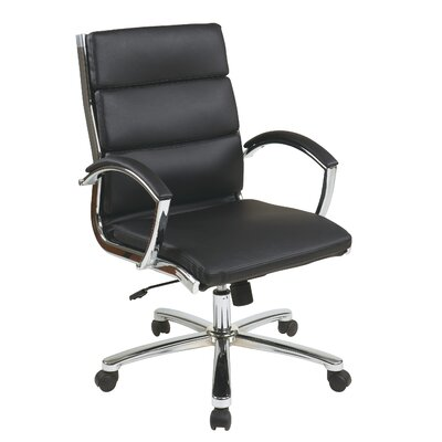 Brayden Studio Dunarragan Mid-Back Faux Leather Executive Chair with Padded Arms