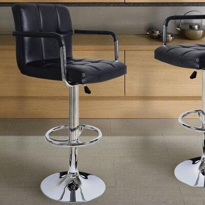 Brayden Studio Adjustable Height Swivel Bar Stool (Set of 2)