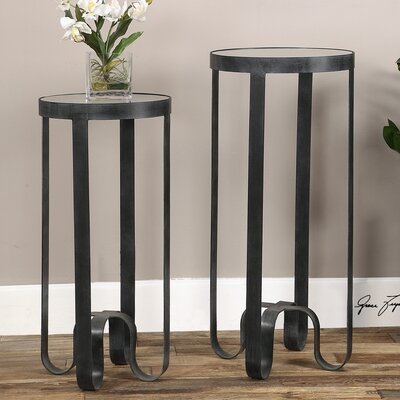 Brayden Studio Amaker 2 Piece Strapped Iron End Table Set