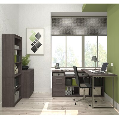 Brayden Studio Whirlpool Computer Desk with Lateral File and Bookcase