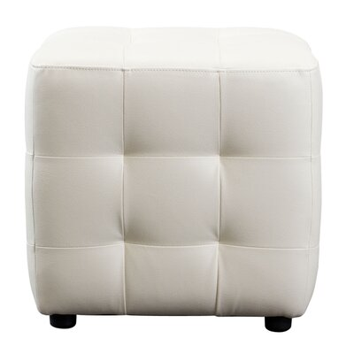 Wade Logan Aidan Bonded Leather Tufted Cube Accent Ottoman