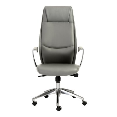 Wade Logan Waylon High-Back Leather Office Chair with Arms
