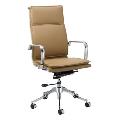 Wade Logan Carter High-Back Leather Office Chair with Arms
