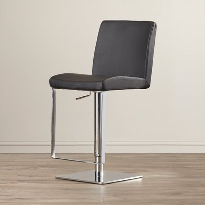 Wade Logan Wesley Adjustable Height Swivel Bar Stool with Cushion