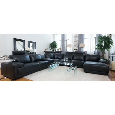 Wade Logan Mohammed Leather Modular Sectional