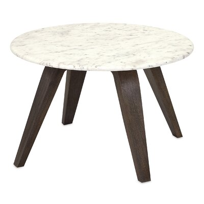 Corrigan Studio Febe Short Marble and Wood End Table