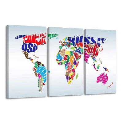 Urban Designs Worldmap 3 Piece Graphic Art Wrapped on Canvas Set