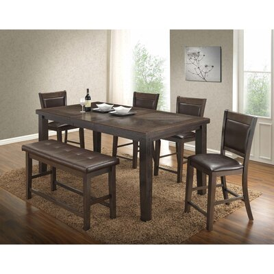 BestMasterFurniture Walnut 6 Piece Counter Height Dining Set