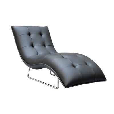 Container Hill Living Grain Leather Chaise Lounge