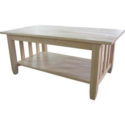 International Concepts Unfinished Wood Mission Coffee Table