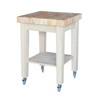 International Concepts Kitchen Cart with Butcher Block with Storage