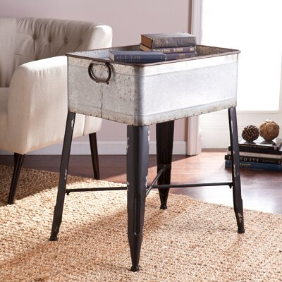 August Grove Solene Galvanized Finish Accent Table