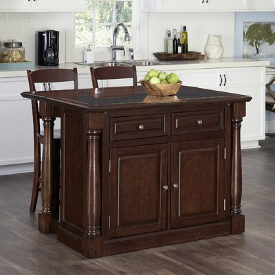 August Grove Shyanne Kitchen Island Set with Granite Top