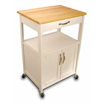 August Grove Allie Kitchen Cart with Wood Top