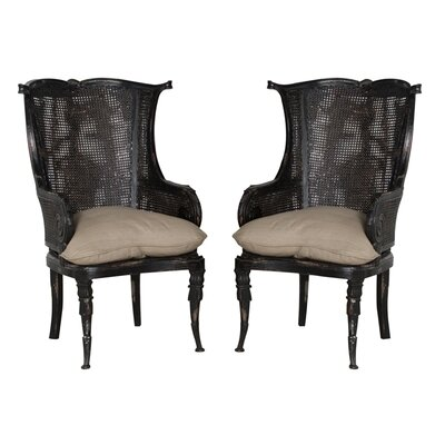 One Allium Way Cairo Wing Back Arm Chair (Set of 2)