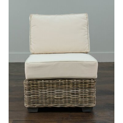 Beachcrest Home Harding Driftwood Rattan Center Chair with Cushion Image