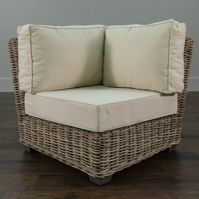 Beachcrest Home Harding Driftwood Rattan Corner Chair with Cushion