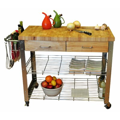Loon Peak Thielsen Kitchen Cart with Wood Top