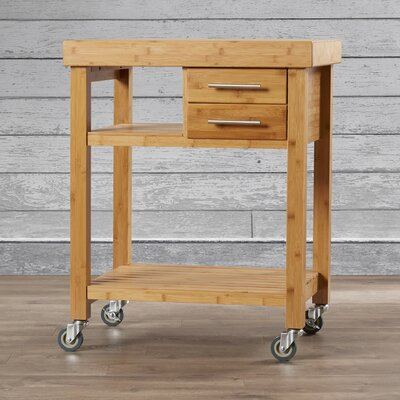 Loon Peak Powderhorn Kitchen Cart with Bamboo Top