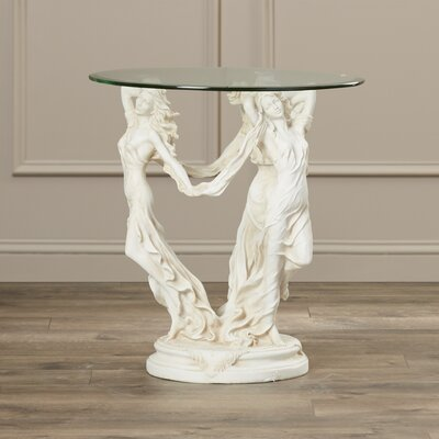 Rosalind Wheeler Spruance Glass Topped Sculptural End Table