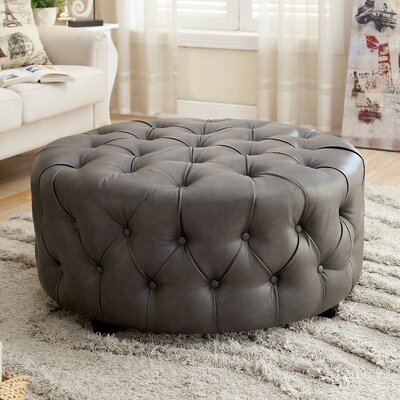 House of Hampton Bowie Leather Tufted Round Ott..