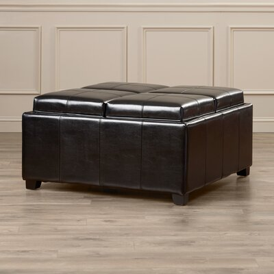 House of Hampton Dandridge Leather Tray Storage Ottoman