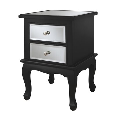 House of Hampton Halstead 2 Drawer Mirrored End Table