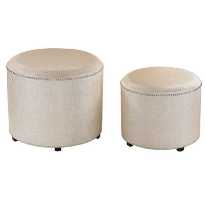 House of Hampton Binoche 2 Piece Metallic Linen Ottoman Set