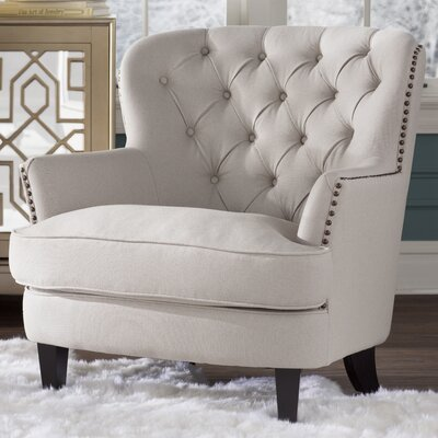 House of Hampton Greene Tufted Upholstered Linen Club Chair
