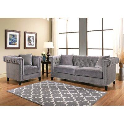 House of Hampton Zirconia Velvet Sofa and Armchair Set