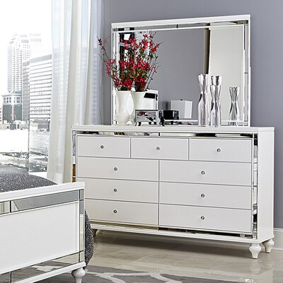 House of Hampton Paltrow 9 Drawer Dresser with Mirror